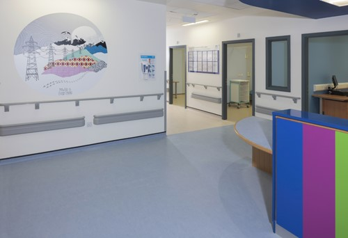 Ian Richards, Graphics integrated into new childrens' hospital.  Photograph Ruth Clark