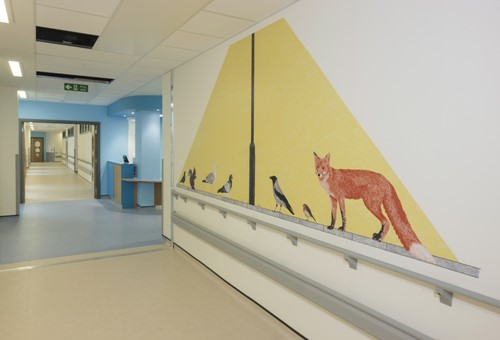 Alison Unsworth, Graphics integrated into new childrens' hospital.  Photograph Ruth Clark