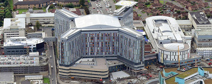 Aerial view of the new south Glasgow hospitals, November 2014 - almost complete.