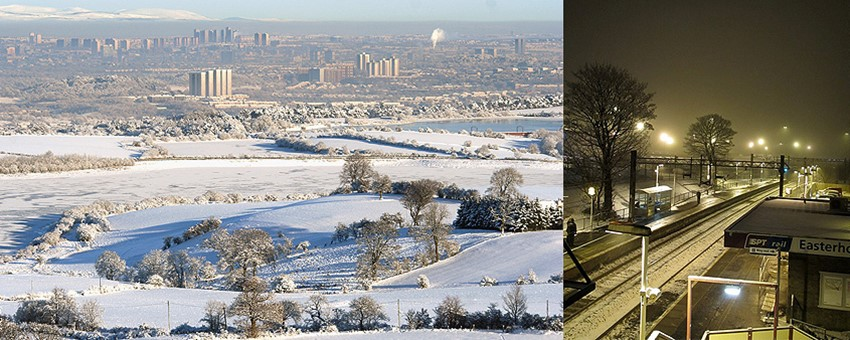 Snow covered Glasgow and Easterhouse Train Station