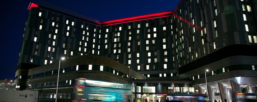 The Queen Elizabeth University Hospital lit red for World Aids Day.