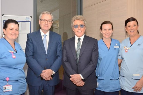 Roger Daltrey and NHS staff at official opening