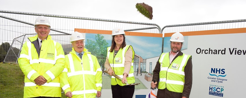 Minister for Public Health cuts first sod at Orchard View - Inverclyde's new Continuing Care Hospital
