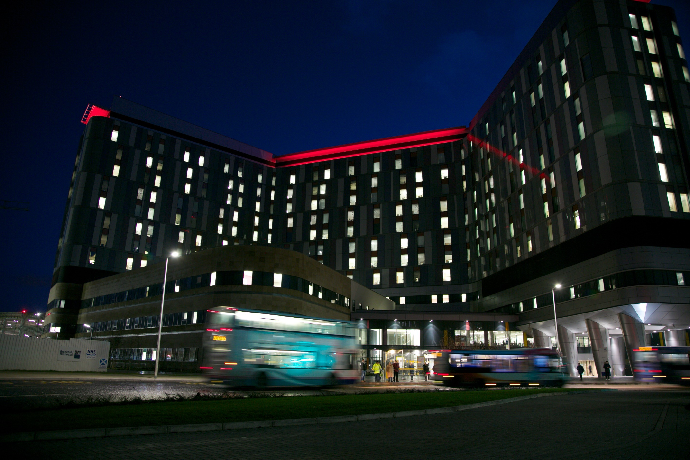 QEUH lit up red in recognition of World AIDS Day