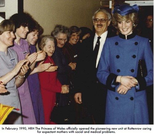Princess of Wales visits Rottenrow in 1990