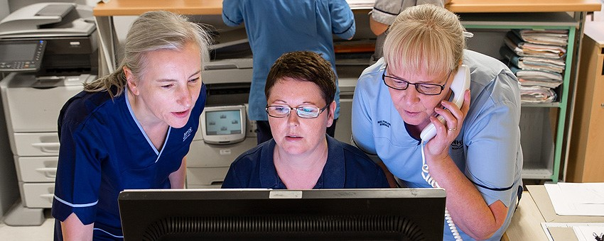Staff looking at a computer screen