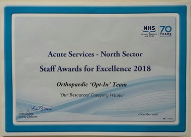 Award for excellence for Ortho opt in team