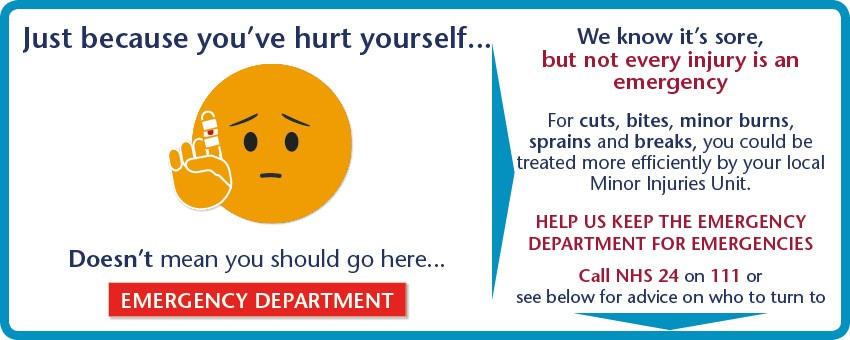 Not every injury is an emergency For cuts, bites, minor burns, sprains and breaks, you could be treated more efficiently by your local Minor Injuries Unit.