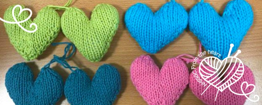 From the heart - knitted hearts